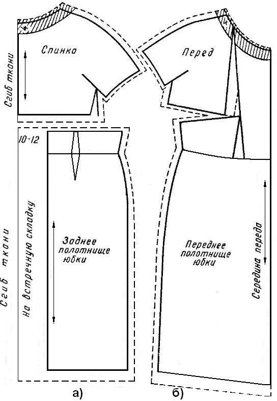 Выкройки платьев с короткими цельнокроенными рукавами