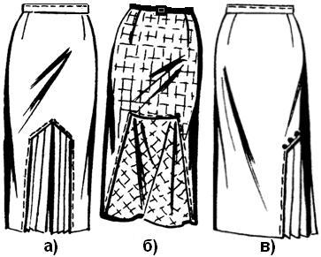 Юбка с подрезом и складками
